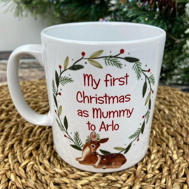 Personalised First Christmas as a Mummy Wreath Mug, from Etsy, £7.95