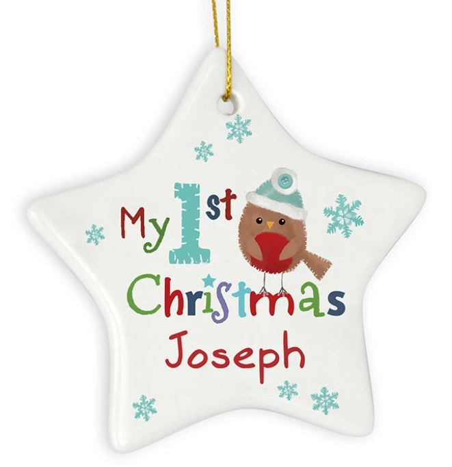 Personalised My 1st Christmas Star Decoration