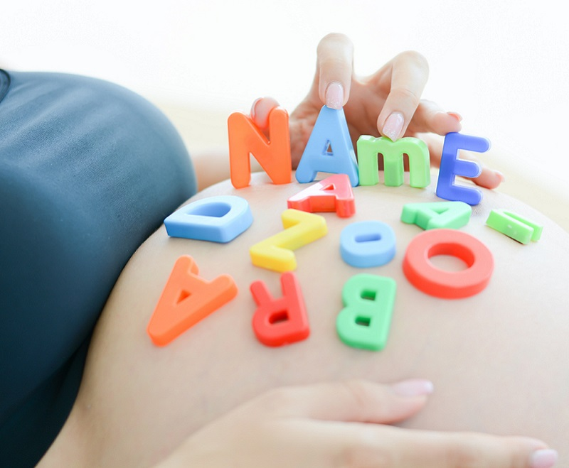 Baby names on belly