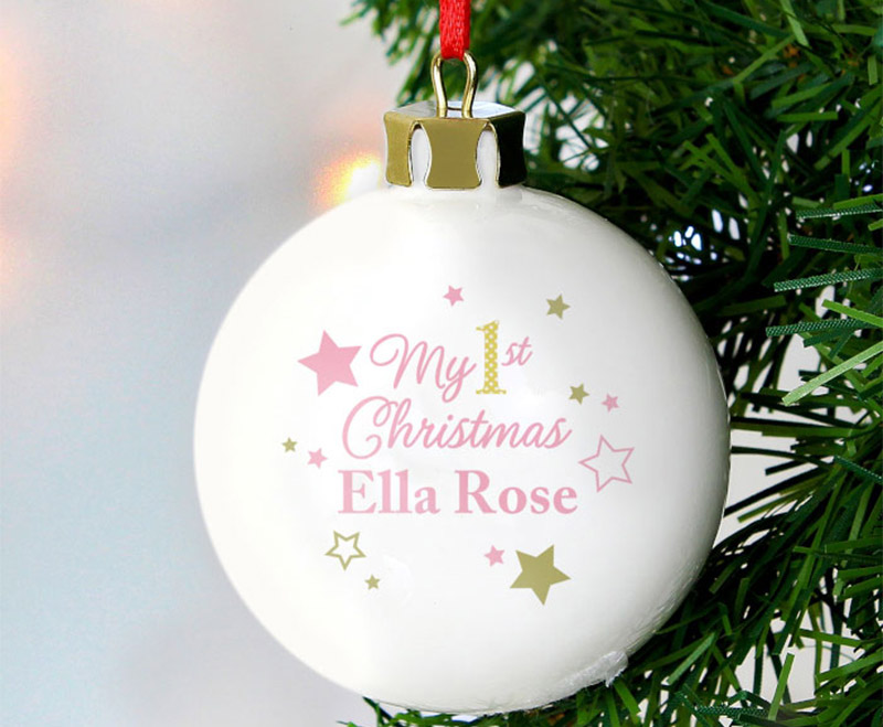 Born-Gifted-Personalised-Pink-and-Gold-Stars-My-First-Christmas-Bauble