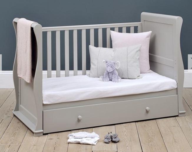 Chantilly Grey Nursery Sleigh Cot Bed