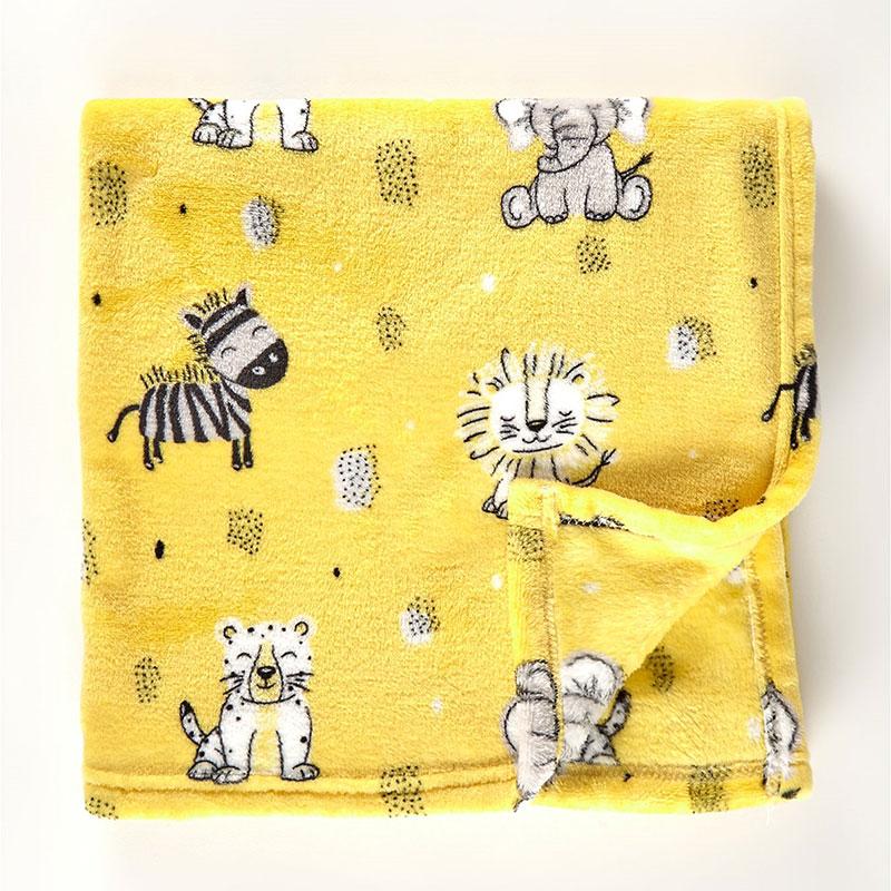 George-Home-Yellow-Safari-Animals-Fleece-Blanket