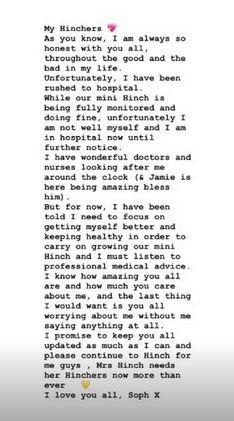 Mrs Hinch Instagram message