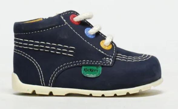 Kickers Navy Kick Hi Zip Crib Shoes