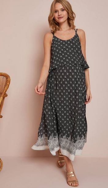 Long Maternity Dress with Stylish Flaps