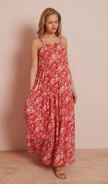 Long Printed Maternity Dress