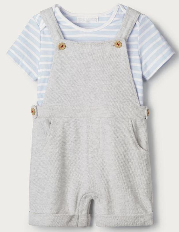 Piqué Dungarees & T-Shirt Set