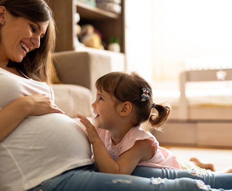 Pregnant woman lying down