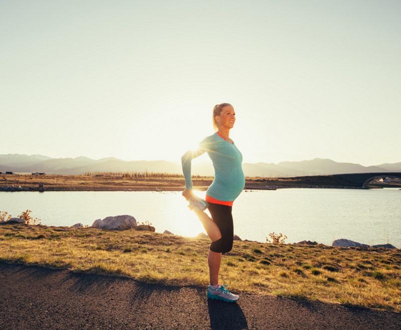 Pregnant woman on a run