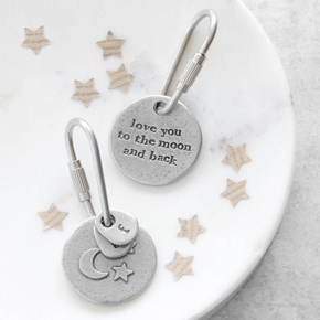 To the moon and back keyring