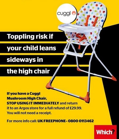 Which Cuggl chair notice
