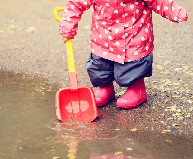 child in wellies