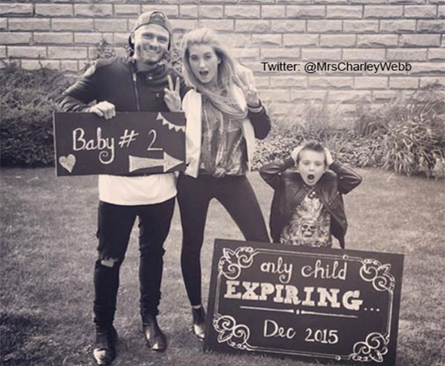 Charley is pregnant with child number two