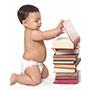 child next to books